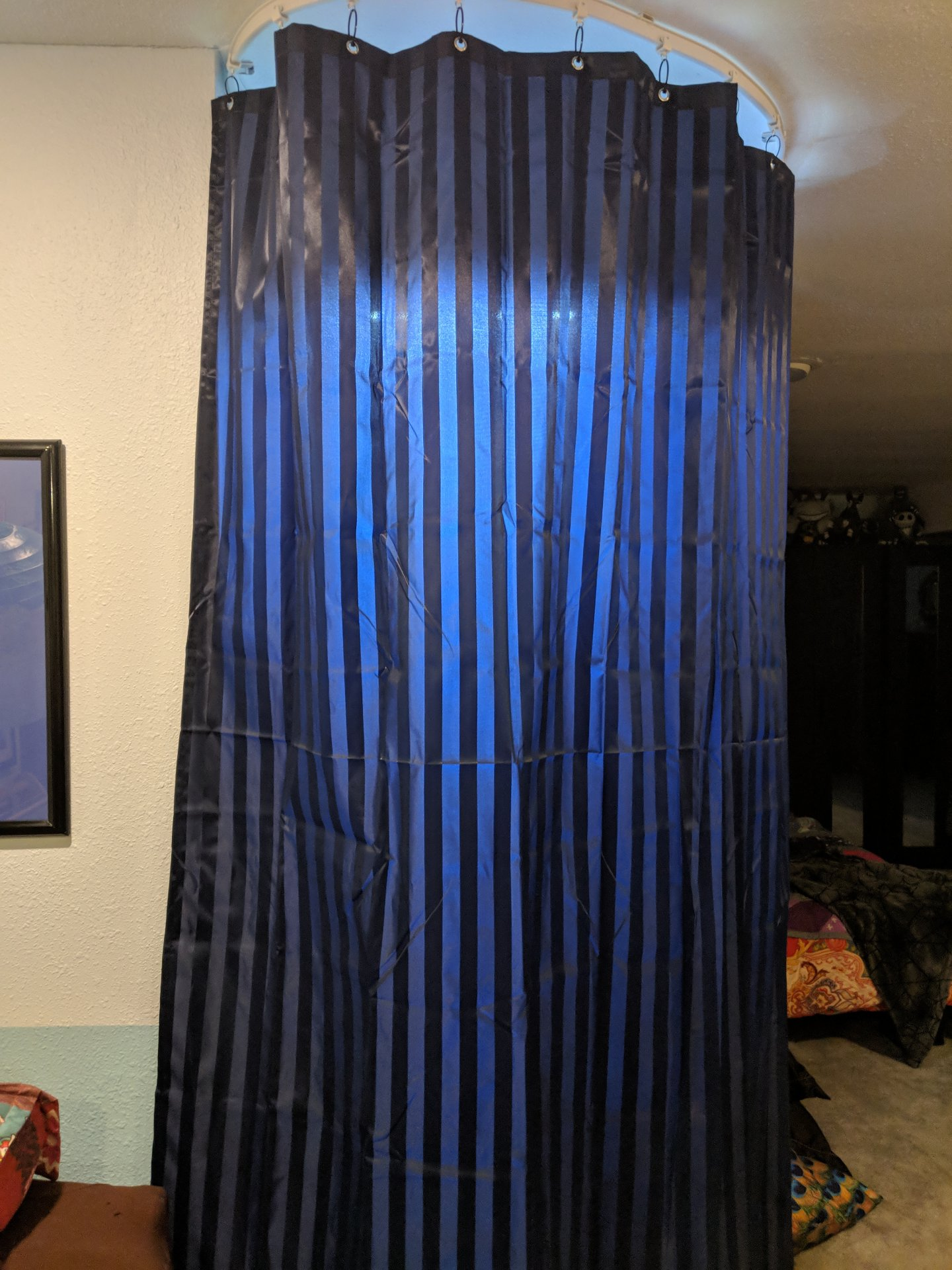 Enclosure with Curtain Drawn